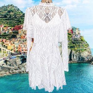 Free People white lace fit flare mini dress
